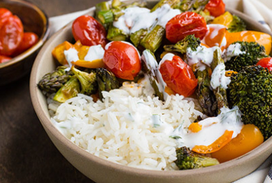 Warming Roasted Veggie Bowl with Sweet Onion Dressing