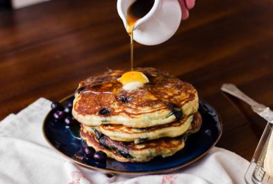 Blueberry Kefir Pancakes