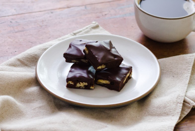 Cocoa Brownies with Spiced Chocolate Ganache