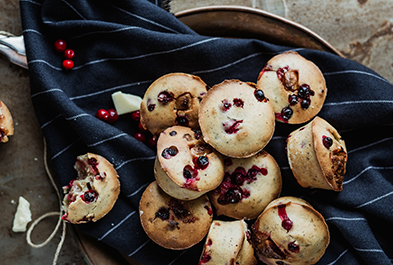 Cranberry & Chocolate Yogurt Muffins