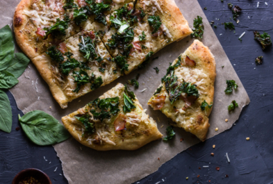 Ham & Kale Pizza with Basil Cream Sauce