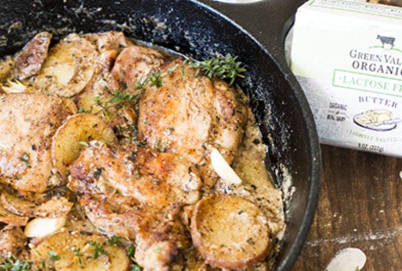 One Pan Creamy Garlic Chicken with Potatoes & Herbs