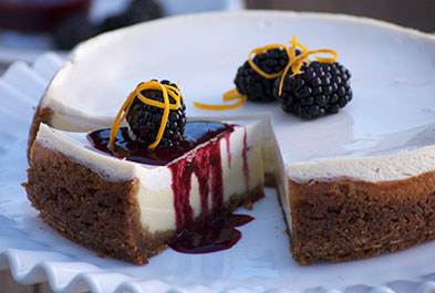 West County Cheesecake with Blackberry Sauce