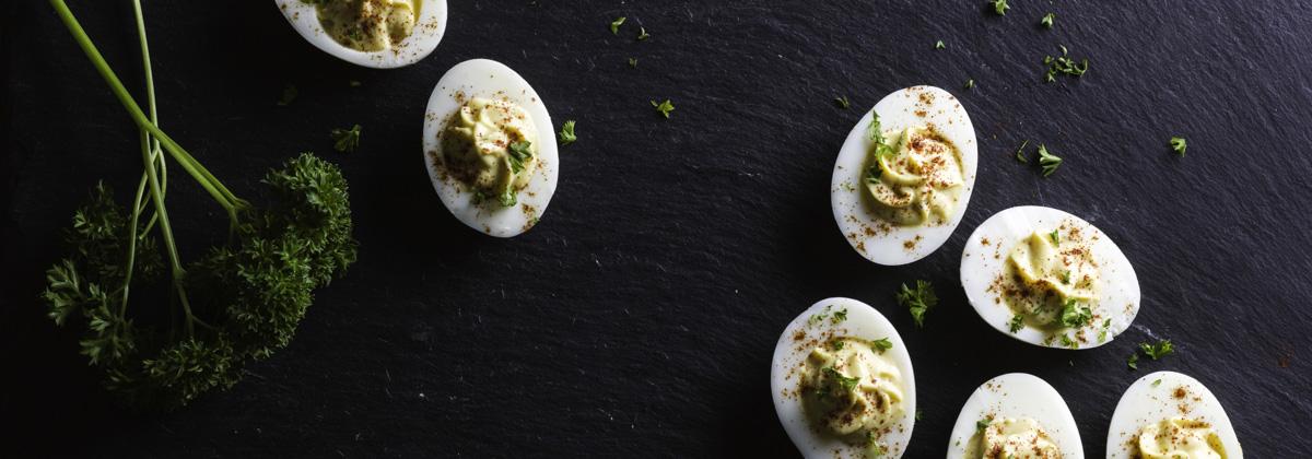 Recipes Appetizers Banner Yogurt Deviled Eggs