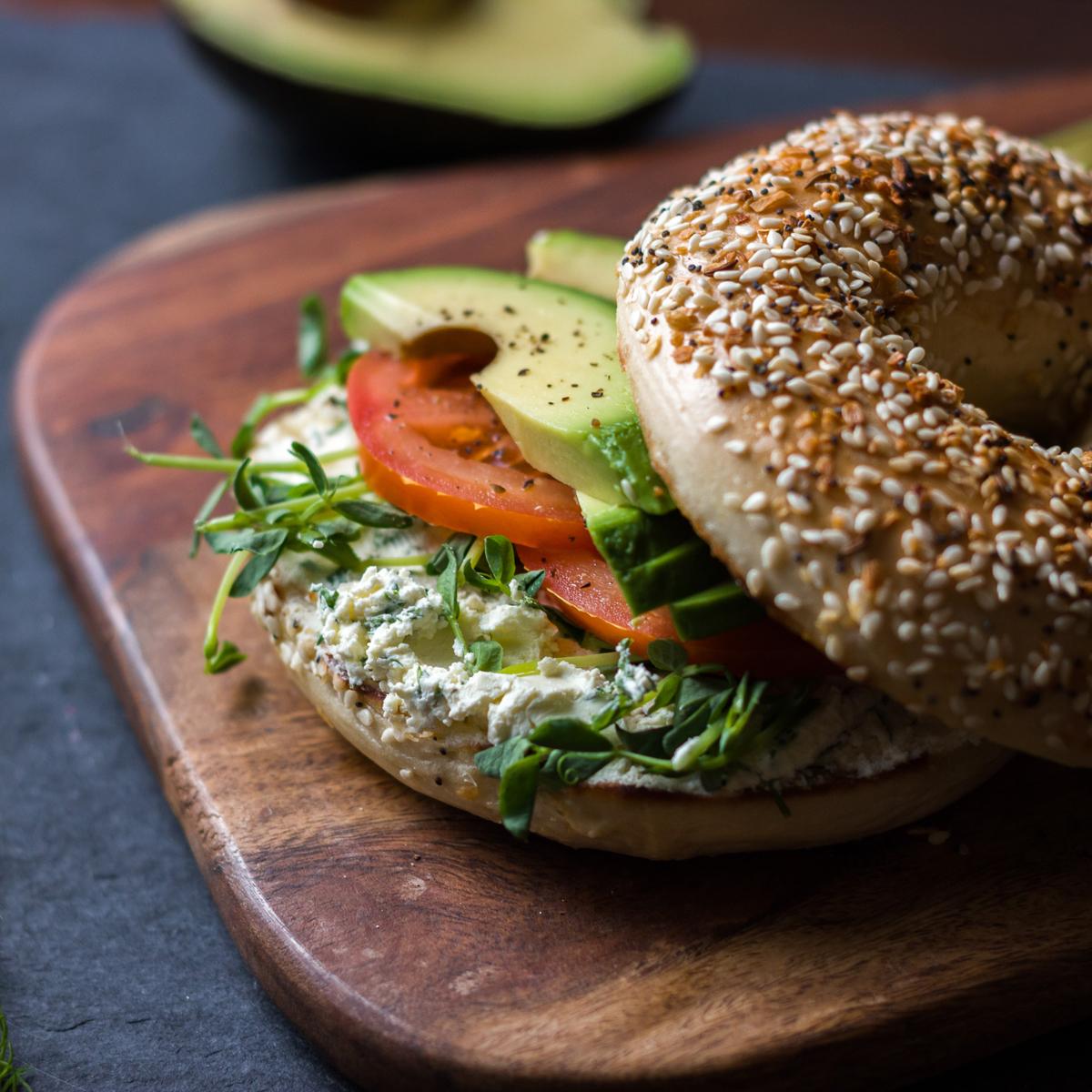 Ultimate Veggie Bagel Sandwich   Lactose-Free Recipes