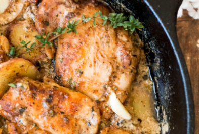One Pan Creamy Garlic Chicken with Potatoes & Herbs