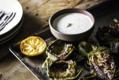 Grilled Artichokes with Lemon Dill Yogurt Sauce