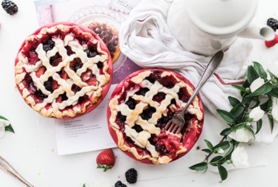 Red, White and Blue Berry Pie with Yogurt Crust
