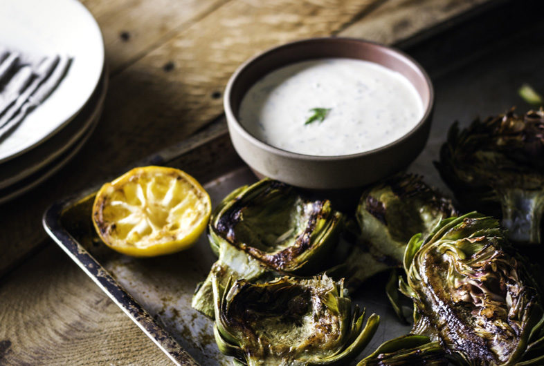 Grilled Artichokes with Lemon Dill Yogurt Sauce
