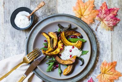 Thanksgiving Squash with Yogurt & Pomegranates