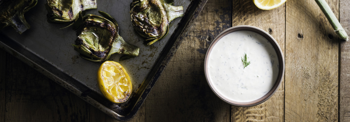 Recipes Appetizers Banner Grilled Artichokes Yogurt Dip