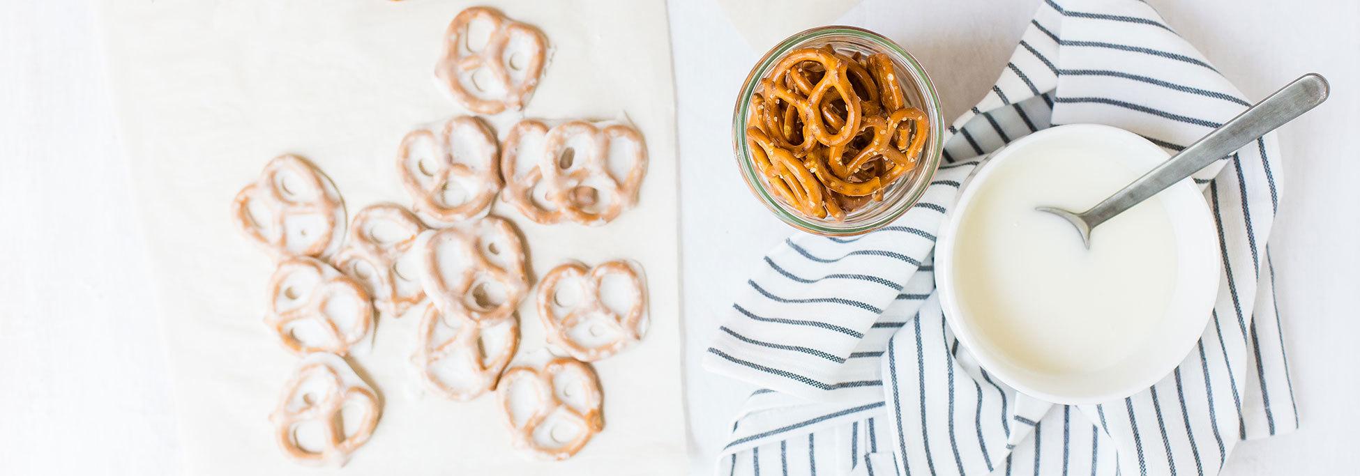 Recipes Yogurt Dipped Pretzels Banner