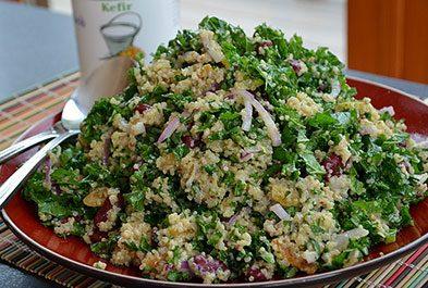 Quinoa Kale Salad with Kefir Cumin Dressing