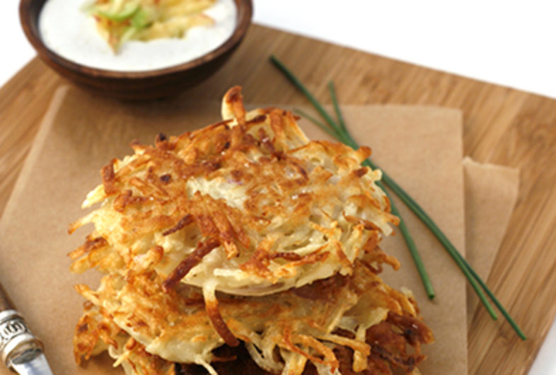 Potato Latkes with Cinnamon-Apple Sour Cream
