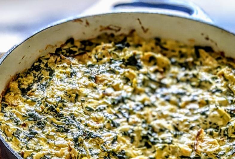 Spinach Artichoke Matzo Kugel