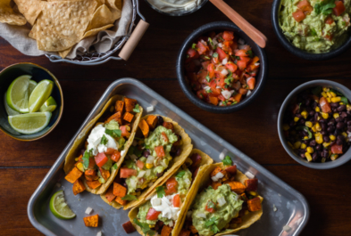 Sweet Potato Tacos with Lime Cilantro Crema